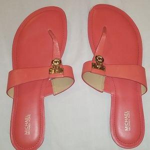 NWOB 11M Michael Kors Orange Leather Flat Sandals